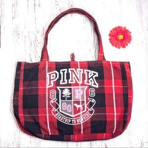 PINK VS red & black plaid road trip cloth tote